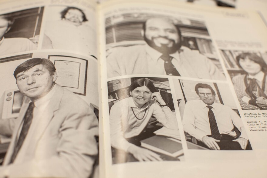 Elizabeth Warren, seen here in an old edition of the University of Texas Law School yearbook, began bankruptcy research while in Texas that has influenced much of her academic and professional career.