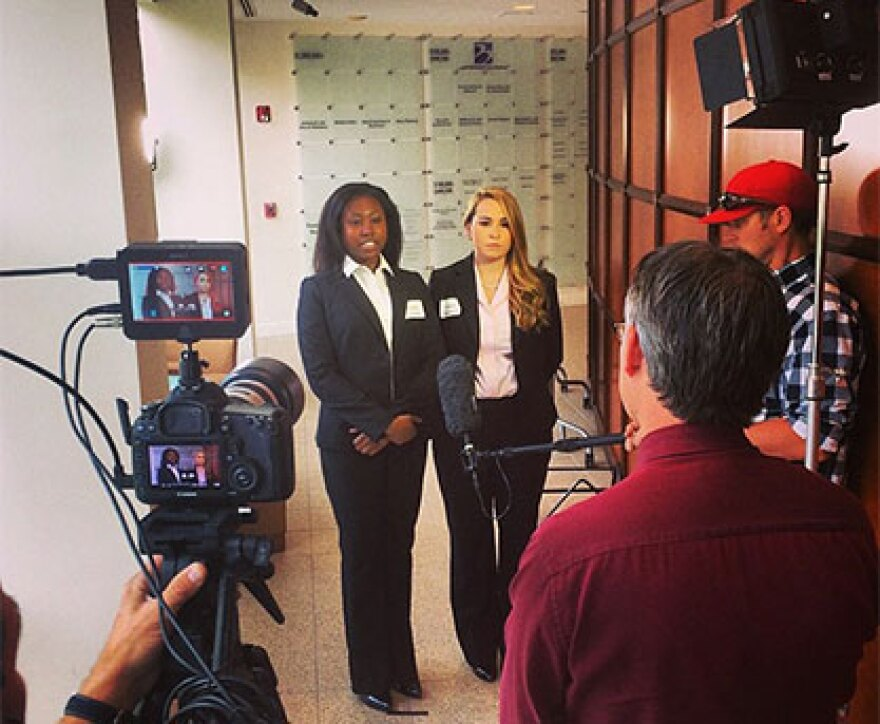 UCF students Taylor Cheeley and Nicole Enterlein are interviewed by WUSF's Mark Schreiner after the competition.