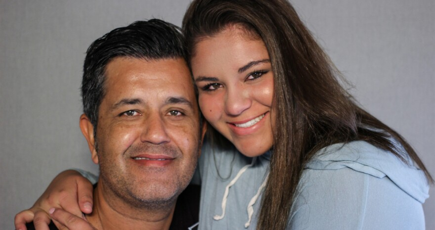 Kaya Ortega with her father, Francisco, at StoryCorps in Los Angeles.
