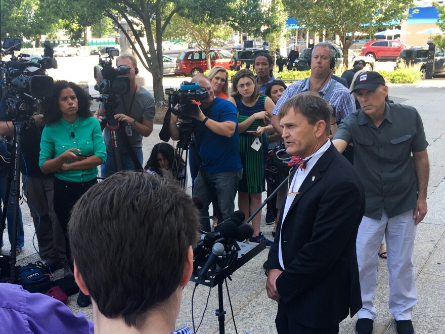 Dr. Randall Williams, director of the Missouri Department of Health and Senior Services, spoke to reporters after a court hearing on Wednesday, June 5, 2019