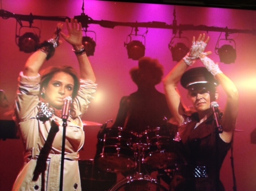 Maya Rudolph (left) and Gretchen Liberum perform as Princess on <em>Late Night with Jimmy Fallon</em> in September.