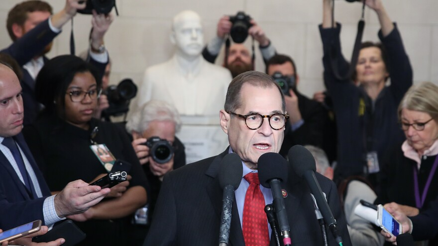 House Judiciary Committee Chairman Jerry Nadler speaks to the media after the committee voted on the two articles of impeachment against President Trump on Dec. 13.