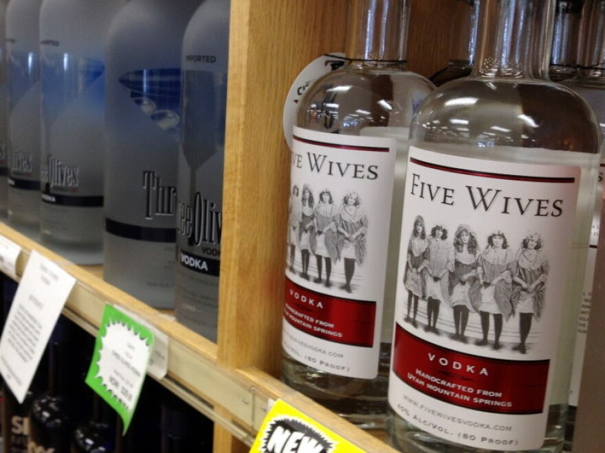 Bottles of Ogden's Own Distillery Five Wives Vodka at a state liquor store in Salt Lake City.