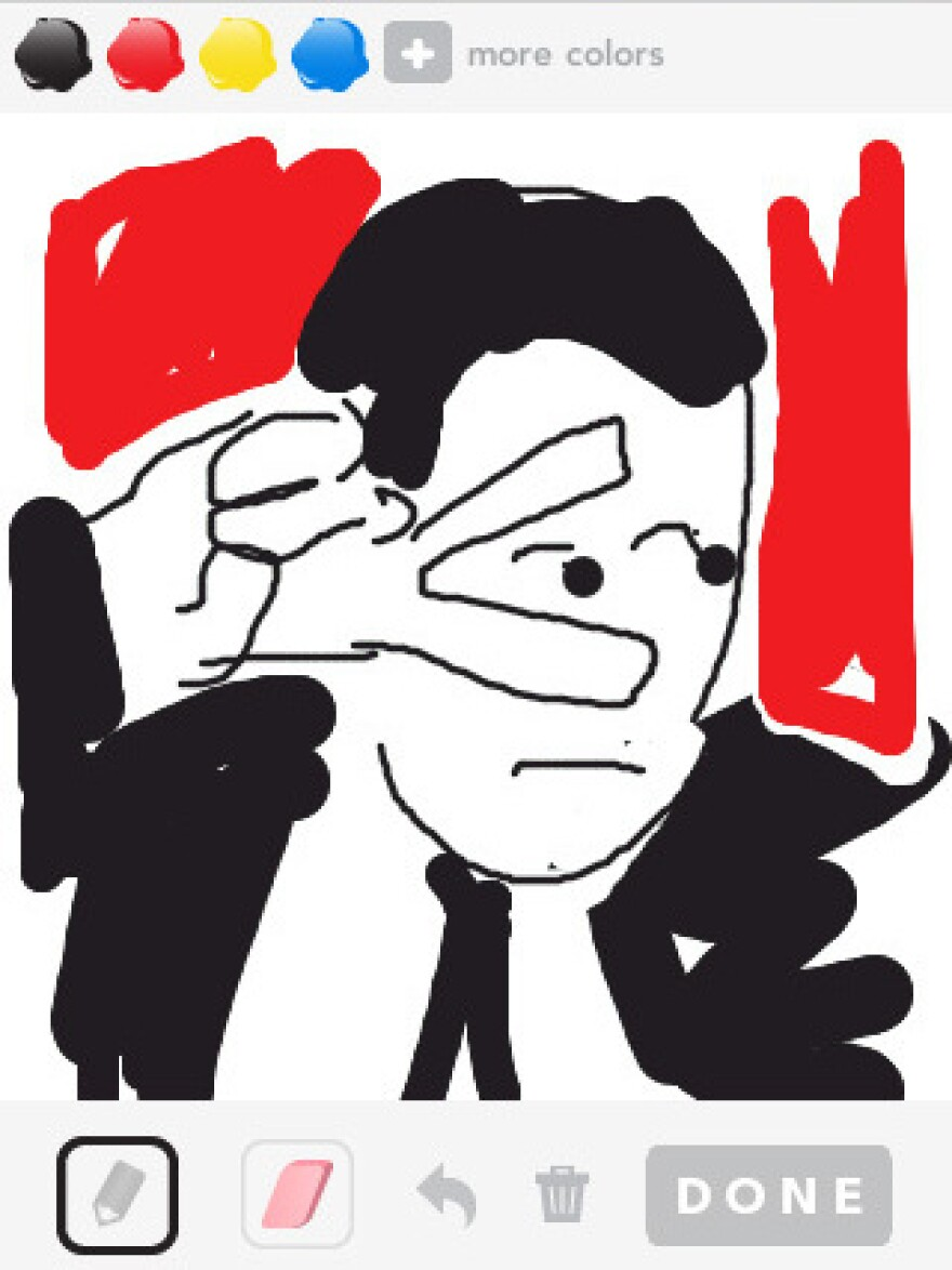"<em>New Yorker</em> cartoonist Matthew Diffee tries his hand at illustrating the word ""Travolta"" using the Draw Something app.<em></em>"