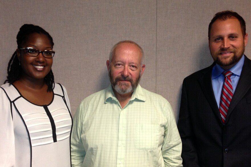 WUSF's Craig Kopp with Aaron Hubbard, Assistant State Attorney with the sex crimes division for the Thirteenth Judicial Circuit Hillsborough County (left), and Sabrina Griffith, the Associate Director of Residential Communities and Residence Life at the University of Tampa.