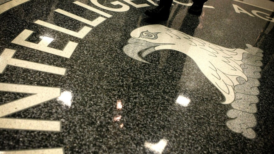 The seal of the Central Intelligence Agency at the lobby of CIA headquarters in McLean, Va.
