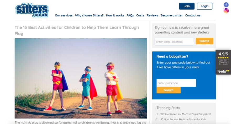 Screenshot of website that offers ideas for indoor activities for children.