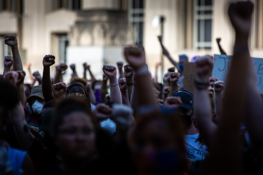 Thousands demonstrated in from of St. Louis City Hall and marched through downtown Sunday June 7, 2020, with calls for police reform.