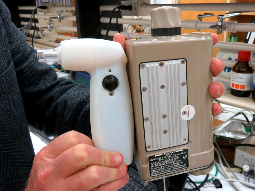 This second-generation prototype of a marijuana field tester being developed at Washington State University is larger than the planned final product.
