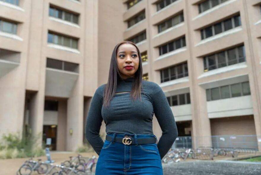 """""""There is going to be a class of Black students at UT-Austin who never have to do a math class in the Robert Lee Moore building,"""" says Audra Collins, a senior. """"And that is something that is at least one thing that I can look back on and say, 'OK, this is worth it.'"""" Last year, the university renamed the building because of Moore's history promoting segregation."""