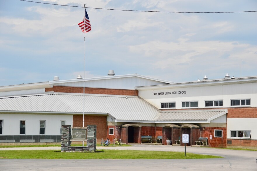 Some students and five staff members left Fair Haven Union High School after learning of Sawyer's threat. And the school entrance — seen here shortly after his arrest — was redesigned for better security.