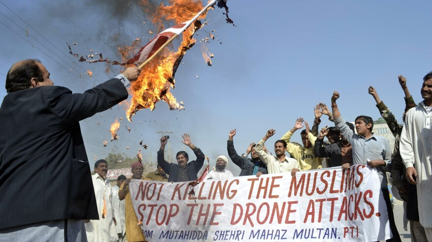 February: A protest in Multan, Pakistan, over the drone attacks.