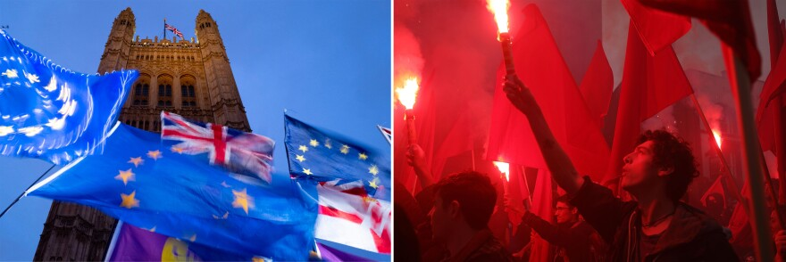 Left: European Union and British flags are flown in pro- and anti-Brexit protests outside Britain's Parliament in October 2019. Right: Demonstrators hold flags and set off red flares during anti-Brexit and anti-austerity protests, as Britain's Conservative Party conference gets underway in Manchester in 2017.