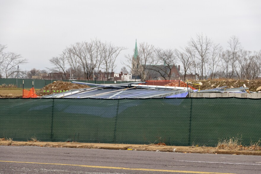 A partially built wall at the Northside Regeneration urgent care project collapsed last year after high winds. Pictured on December 28, 2018.