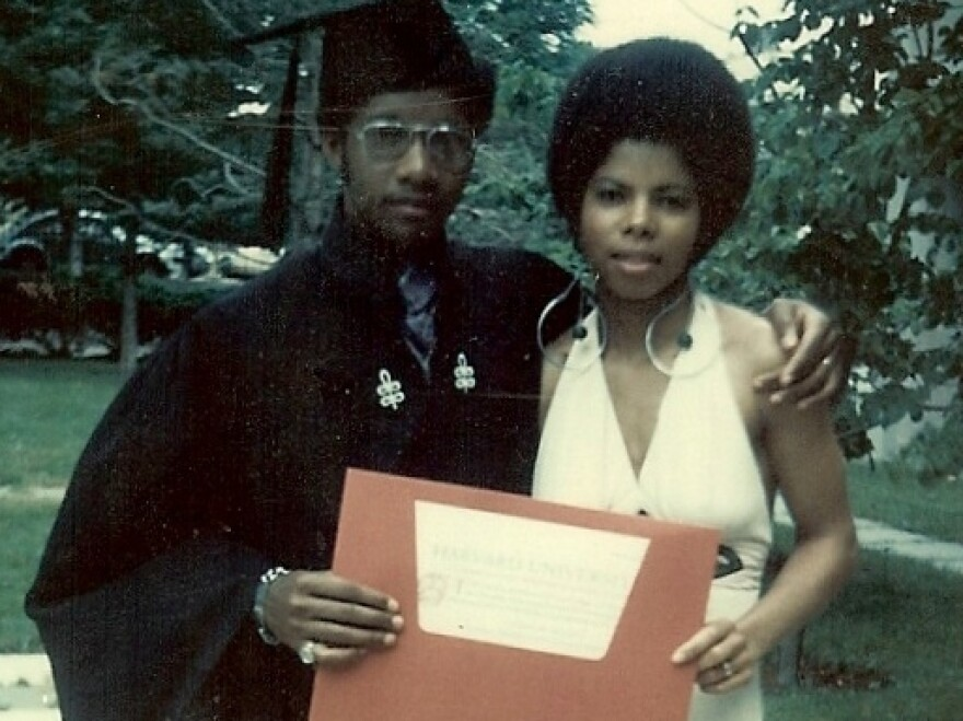 Sylvester Monroe and then-wife Regina at his graduation from Harvard University in 1973.