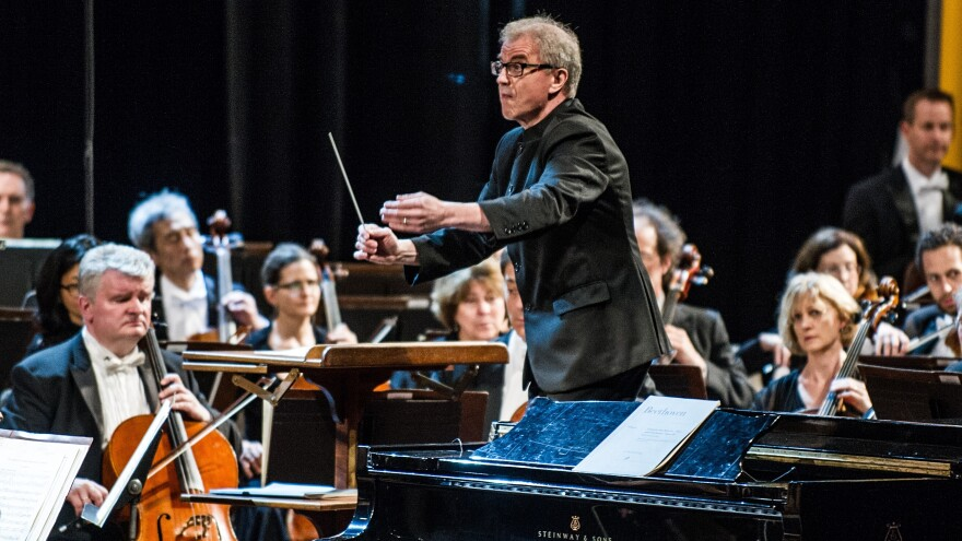 The Minnesota Orchestra under the direction of conductor Osmo Vanska (center) performs during a concert at the Cuban National Theater in Havana on Friday.