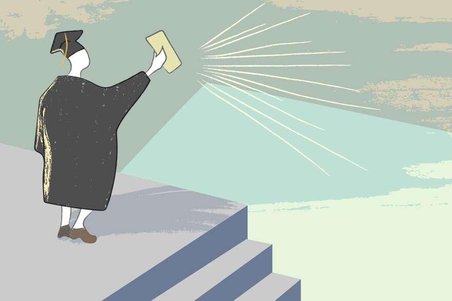 College and graduation illustration