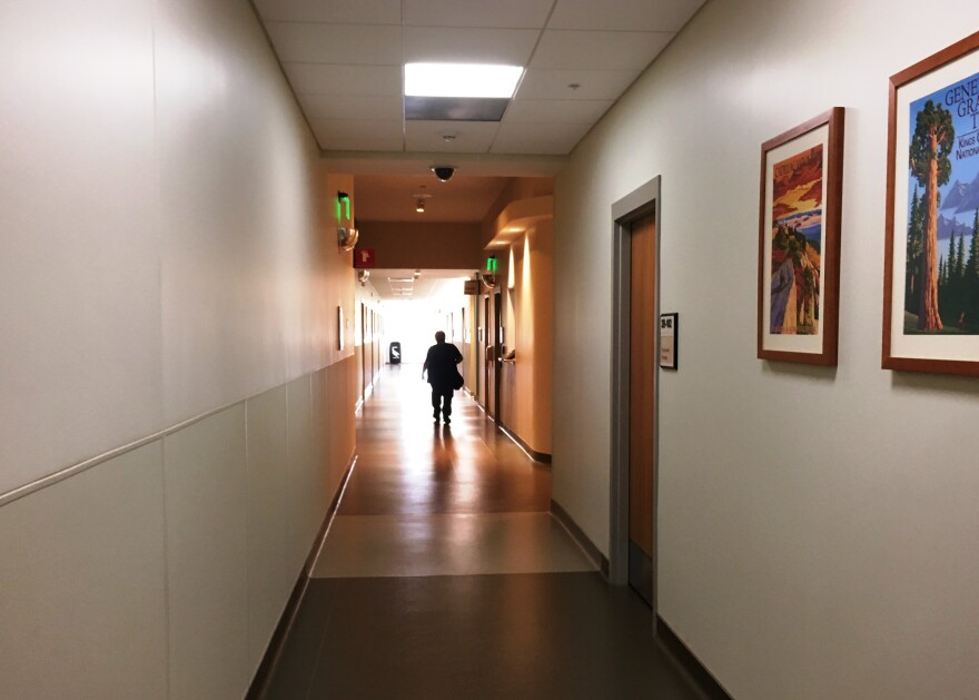 Natural light floods the hallways, community spaces and resident's individual rooms at the new, 155,000 square-foot Bay Pines VA Mental Health Center.