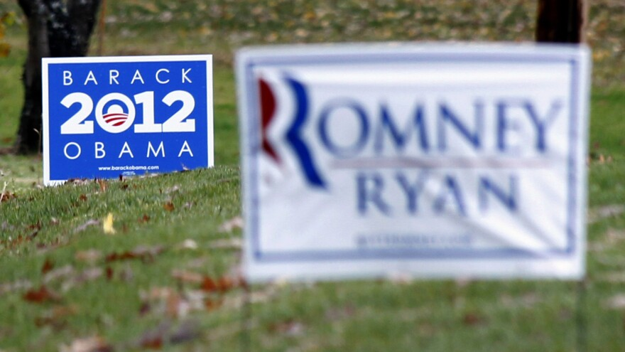 Competing yard signs near Evans City, Pa., four days before the election. The campaigns of President Obama and Republican Mitt Romney each raised more than $1 billion during the race.