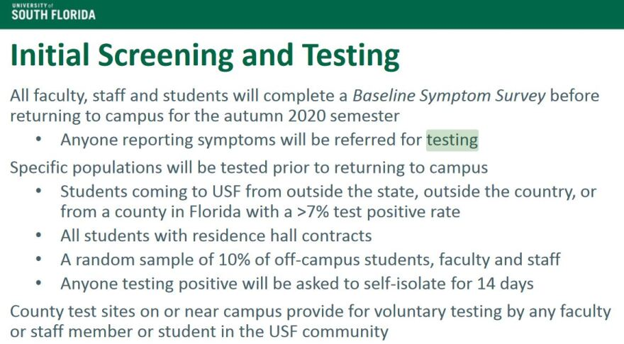 List of screening requirements