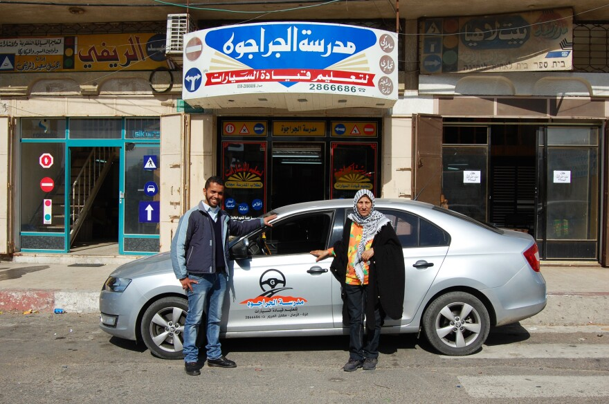 Mohammad al-Hattab (left) and Samira Syam both teach driving at the al-Jarajwa school in Gaza City. Hattab was stopped by Hamas police, and his permit to teach temporarily revoked, for driving alone with a female student. Syam says nobody bothers her if she has a male student alone.