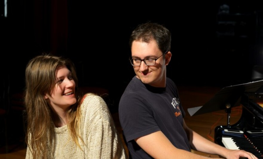 Isabel Sorling, left, and Florida Tech Artist in Residence Paul Anquez.