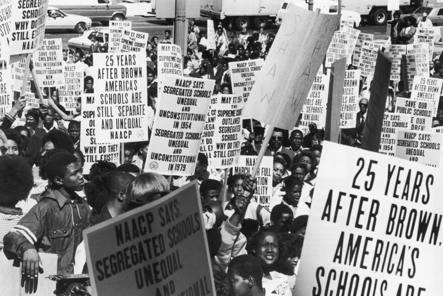 Schoolchildren and NAACP members parade in Washington, D.C., on May 17, 1979, the 25th anniversary of the U.S. Supreme Court's ruling that ended racial segregation in American schools.