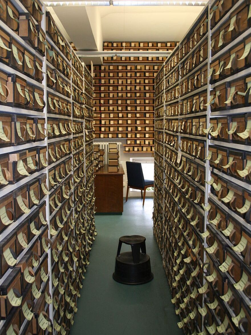 The archive contains boxes filled with notes on each Latin word. In most cases, the scholars made the notes more than a century ago.