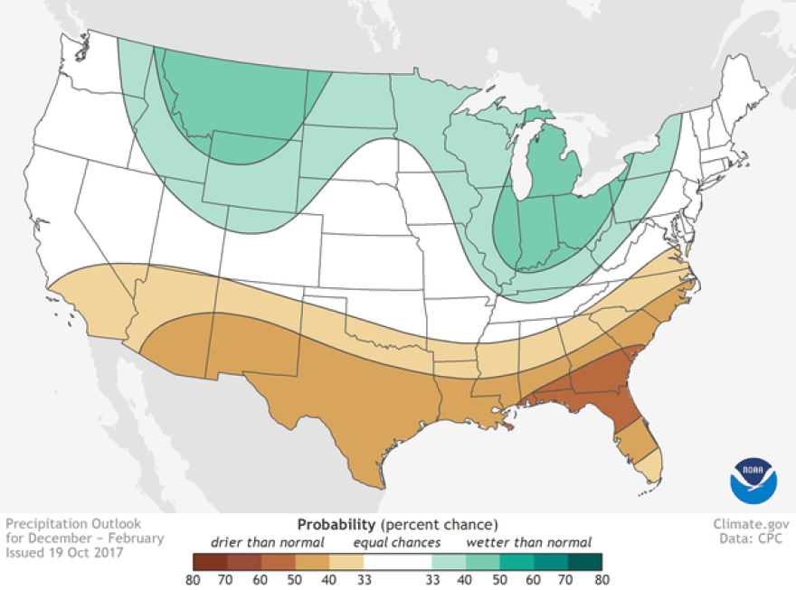 NOAA's outlook for precipitation in the U.S this coming December through February.