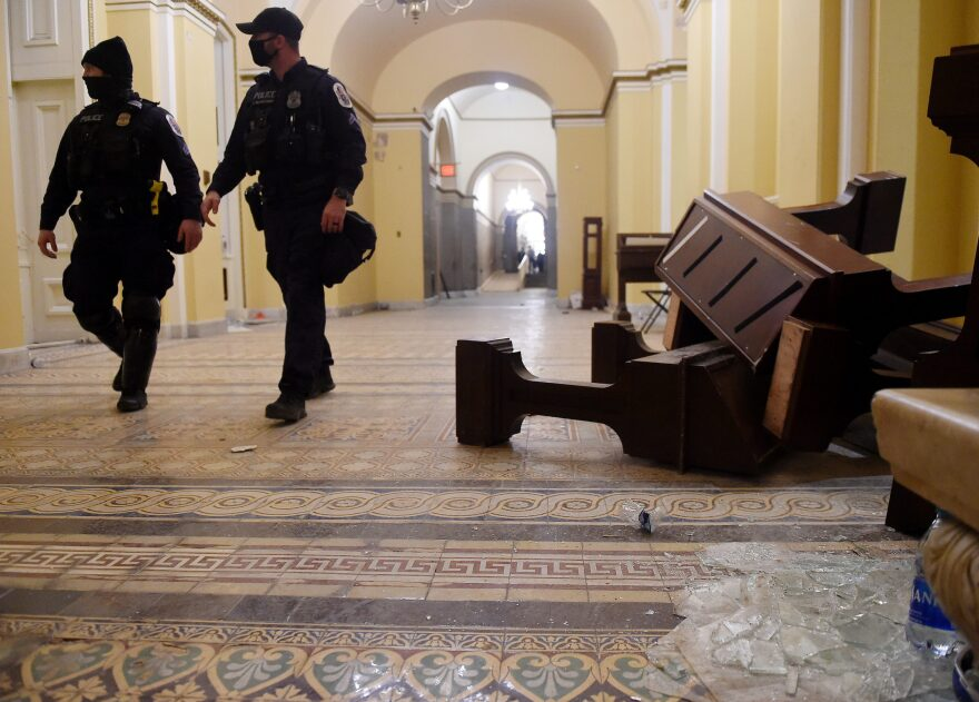 Damage is seen inside the US Capitol building early on Jan. 7, 2021 in Washington, DC, after supporters of US President Donald Trump breeched security and entered the building during a session of Congress. - Donald Trump's supporters stormed a session of Congress held today, January 6, to certify Joe Biden's election win, triggering unprecedented chaos and violence at the heart of American democracy and accusations the president was attempting a coup. (Olivier Douliery/AFP via Getty Images)