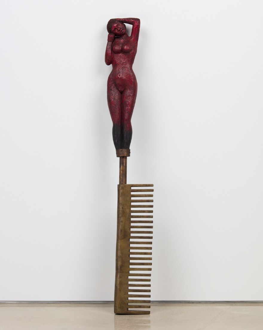 <em>The Big Singe,</em> 2020, wood, metal, enamel paint, spray tar