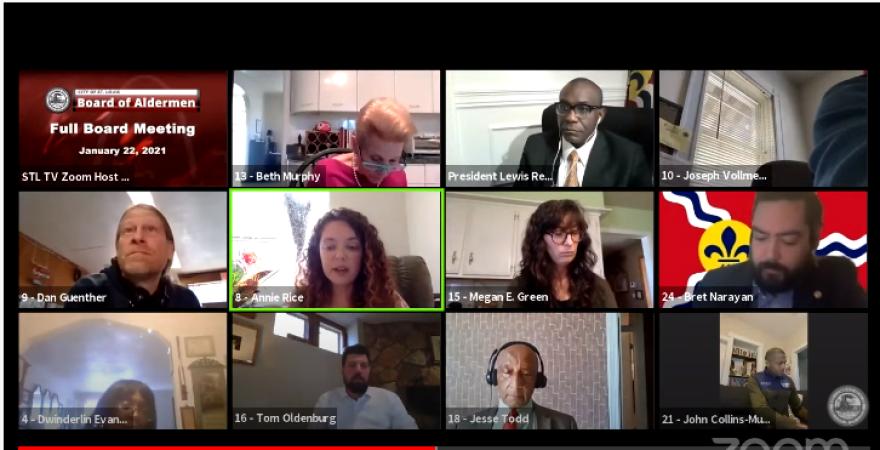 A screenshot of a virtual St. Louis Board of Aldermen meeting on Jan. 22, 2021