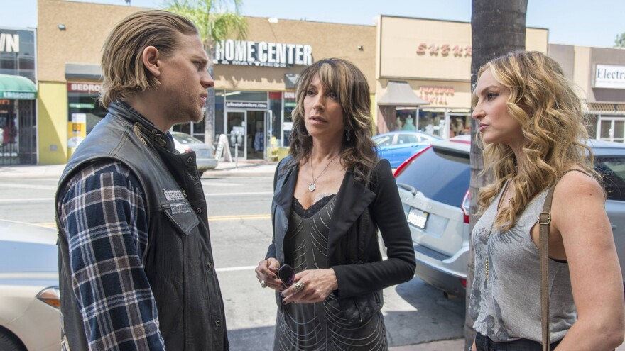 Charlie Hunnam co-stars with Katey Sagal (center) and Drea De Matteo on FX's biker drama <em>Sons of Anarchy</em>.