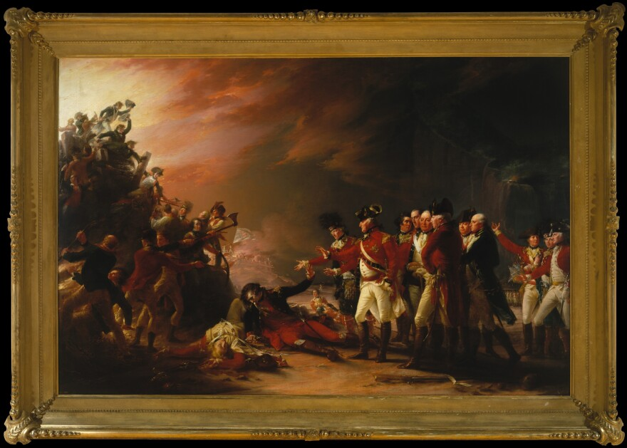 The painting in question: <em>The Sortie Made by the Garrison of Gibraltar</em>, by John Trumbull. The real thing, produced in 1789, now hangs in New York's Metropolitan Museum of Art. It depicts a moment of battlefield camaraderie during the siege seven years earlier.