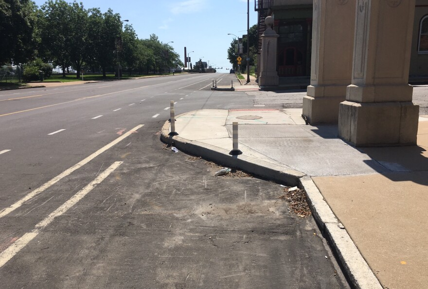 Legislation on Mayor Slay's desk would encourage the use of bump-outs, such as this one at Chouteau and Mississippi, to calm or slow down traffic.