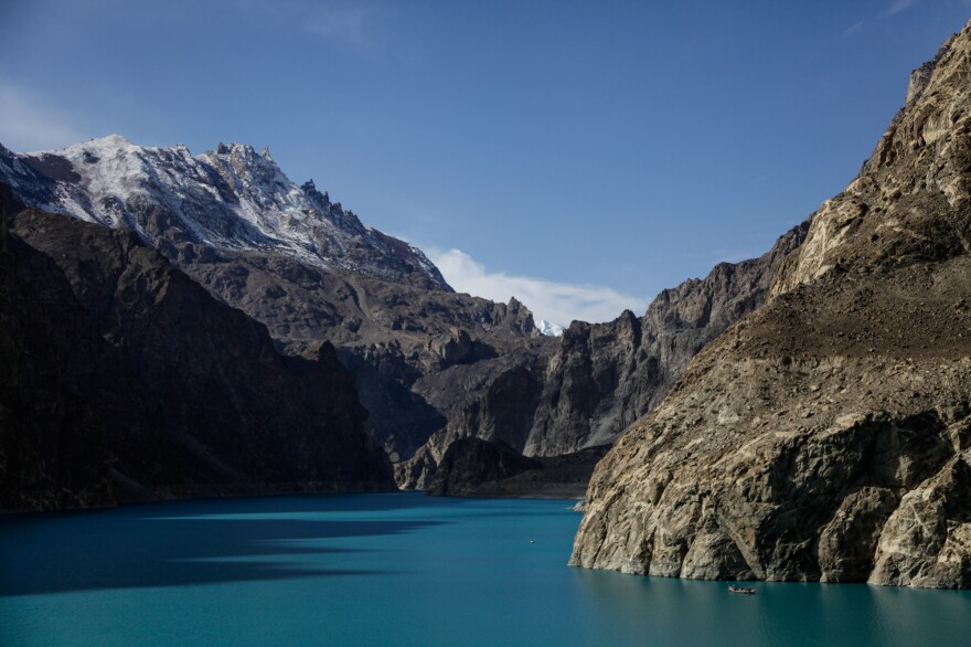 Boat rides on the Attabad glacial lake, which is several miles long, is a popular tourist activity in far northern Pakistan.