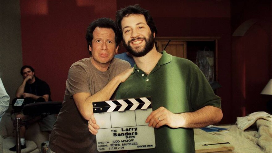Garry Shandling and Judd Apatow on the set of <em>The Larry Sanders Show</em>.