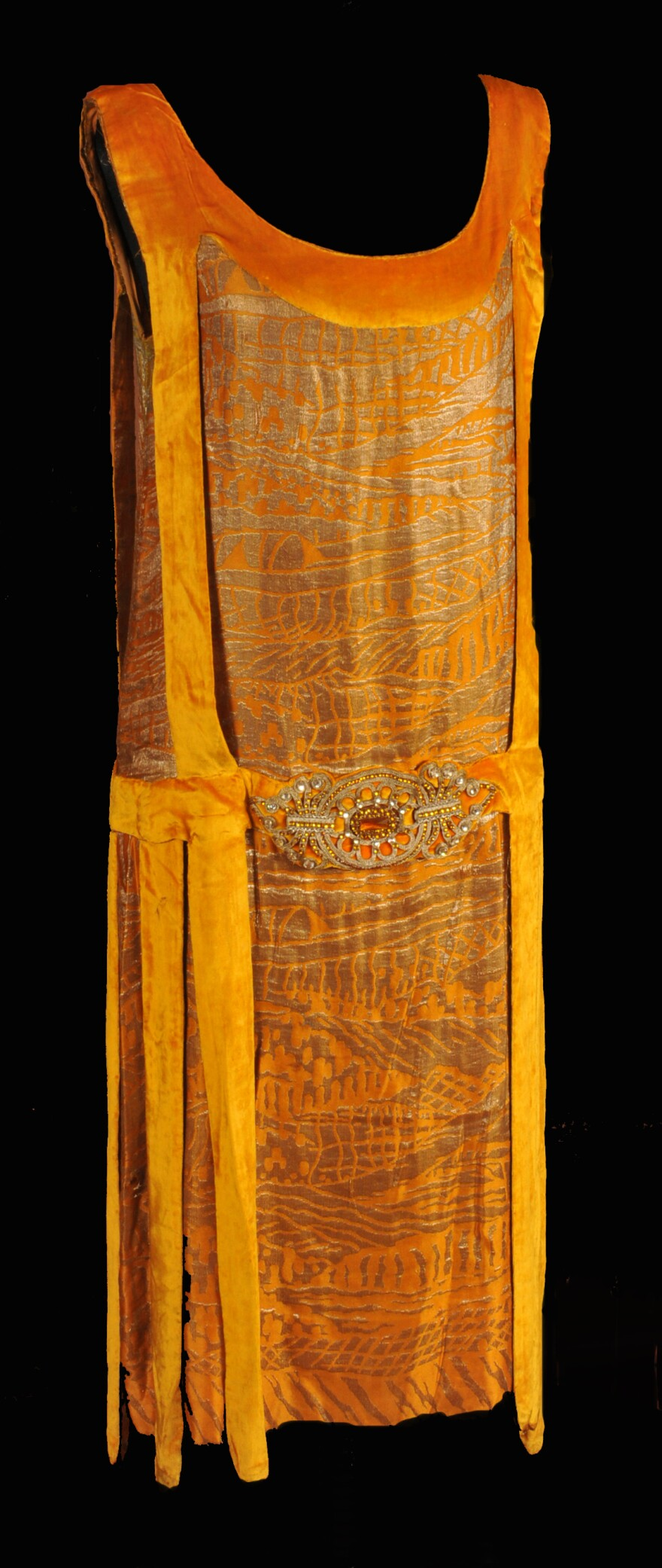 Dress of gold velvet with metal thread made by Liberty, 3B Des Capucines, Paris 1920 Missouri Historic Costume and Textile Collection, University of Missouri.jpg