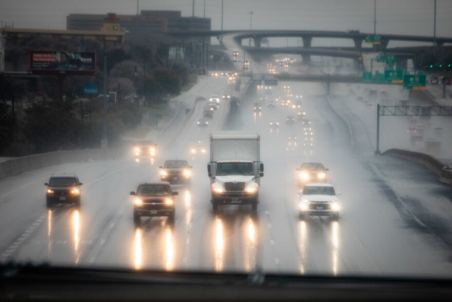 Traffic on southbound Interstate 35 in South Austin during Thursday's winter storm. The city has asked people to stay off the roads if they can.