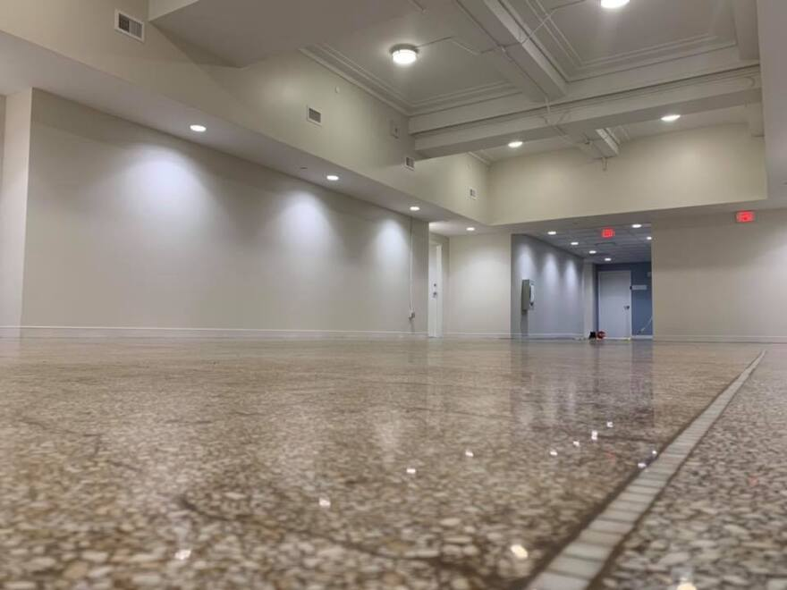 Founder's Hall at YWCA Dayton has restored terrazzo floors and will be home to resident workshops, presentations, socializing & the nutrition program's new Learning Kitchen.