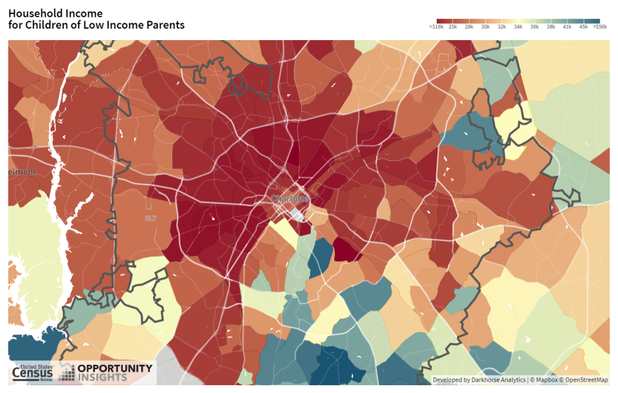 The Opportunity Atlas allows you to look at economic mobility at the neighborhood level by parent's income, race, and gender. This map looks at mobility based on all races and men and women.