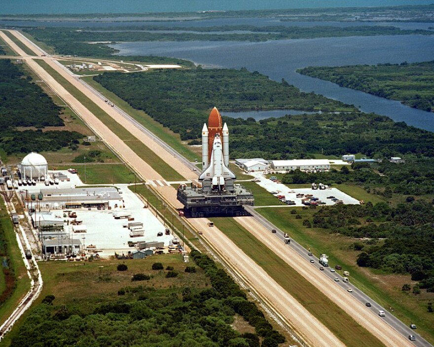A picture of Space Shuttle Challenger on the Crawler Transporter.