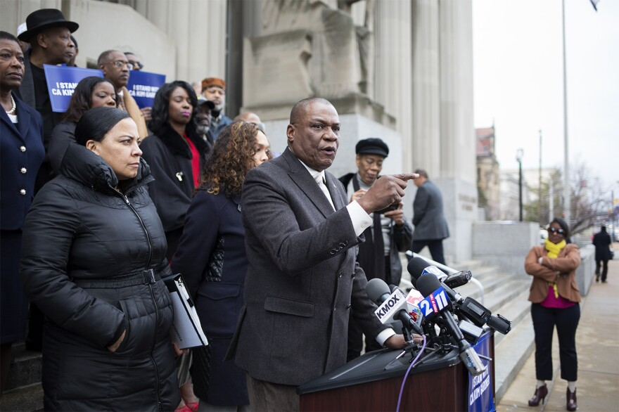 Adolphus Pruitt, president of the St. Louis chapter of the NAACP, speaks in support of St. Louis Circuit Attorney Kim Gardner during a press conference outside the Carnahan Courthouse on Jan. 14, 2020.