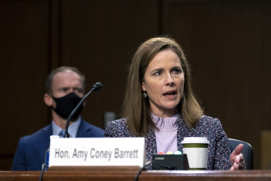 The Senate voted Monday evening on the Supreme Court nomination of Judge Amy Coney Barrett, seen here during her confirmation hearings.