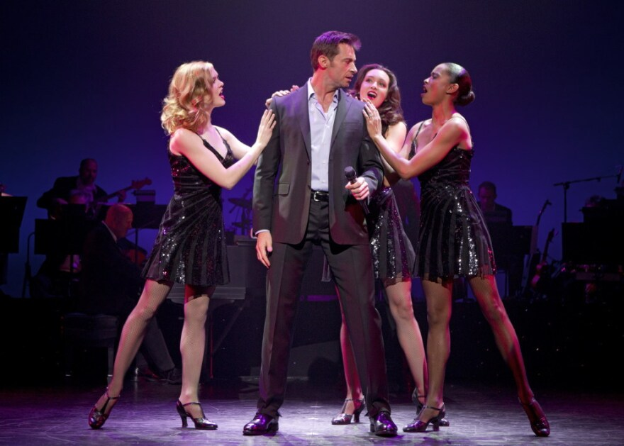 Jackman (with Emily Tyra, left, Lara Seibert and Kearran Giovanni) has the moves of a serious song-and-dance man, says <em>Back on Broadway</em> director-choreographer Warren Carlyle.