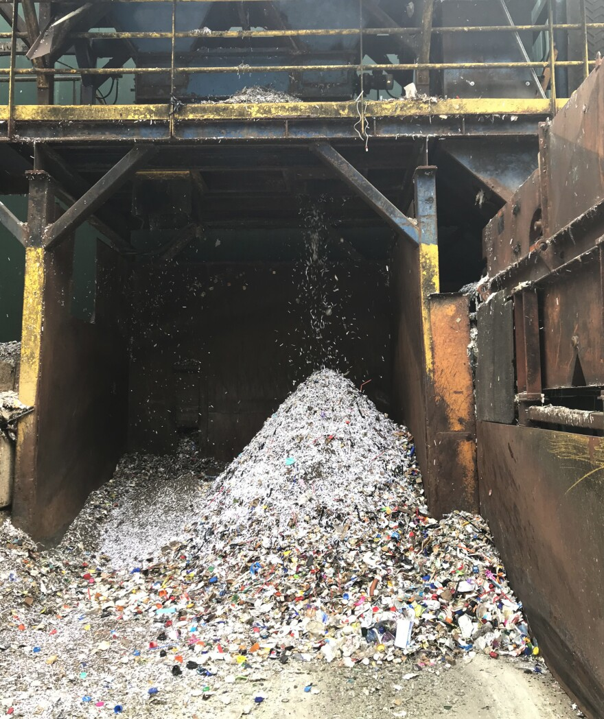 A pile of debris including all kinds of plastics grows hourly at Omni Recycling, a materials recovery facility in Pitman, N.J. Plastic bags are especially problematic because they can get caught in the conveyor belts and equipment and gum up the recycling process.