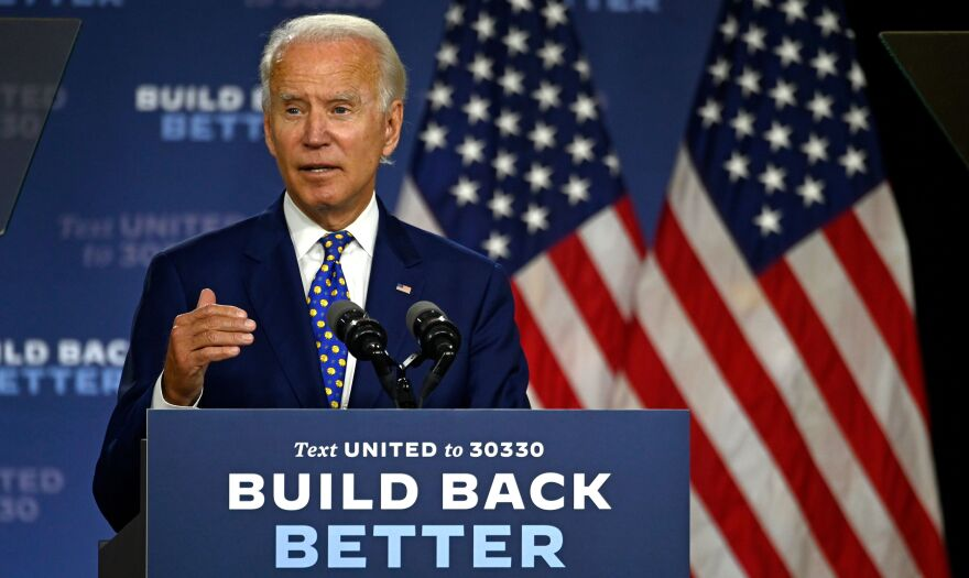 "Joe Biden, the presumptive Democratic presidential nominee, speaks during a campaign event at the William ""Hicks"" Anderson Community Center in Wilmington, Del., on Tuesday."