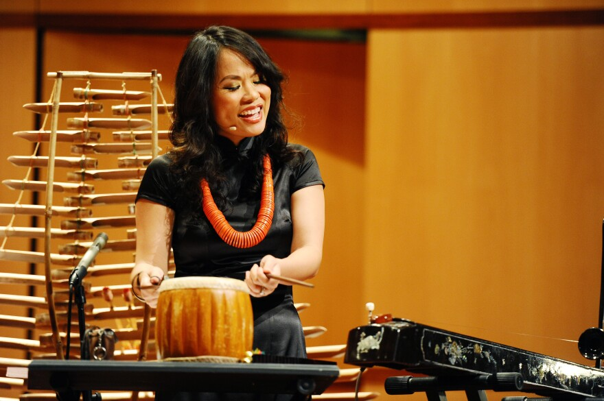 """Van-Anh Vanessa Vo plays the dan tranh zither, a Vietnamese string instrument, in the song """"3 Gnossiennes: Gnossiennes No. 3."""""""