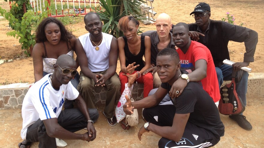 Mbalax band Jeri-Jeri — led by Bakane Seck (he's wearing the white shirt and gold necklace) — with German producer Mark Ernestus.