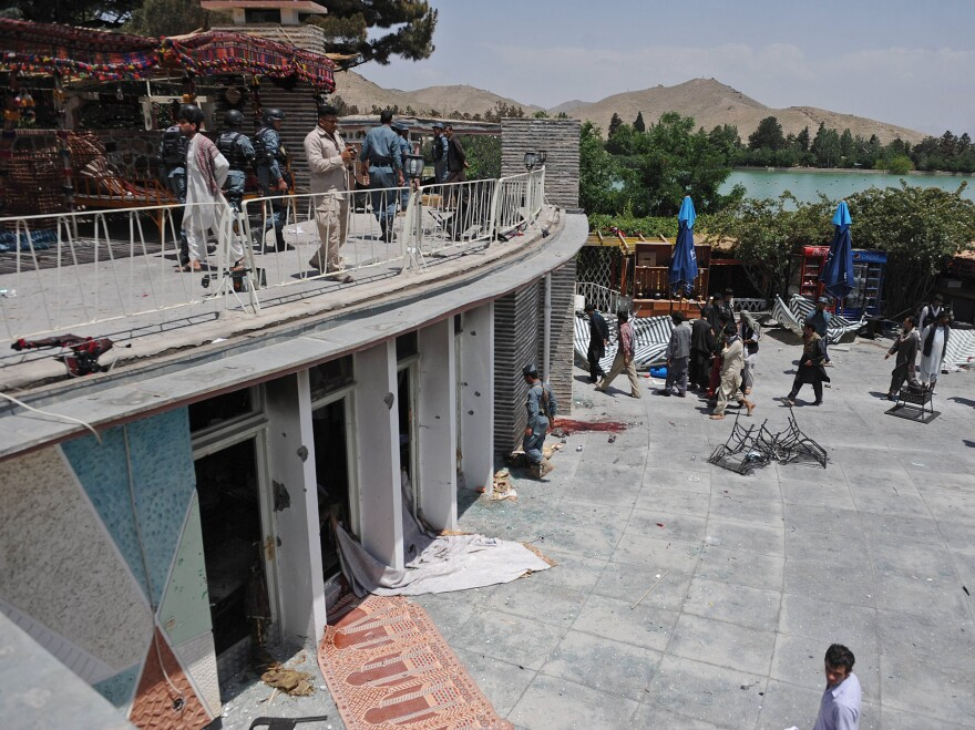 A view of the Spozhmai Hotel outside Kabul after an attack by the Taliban on Friday.